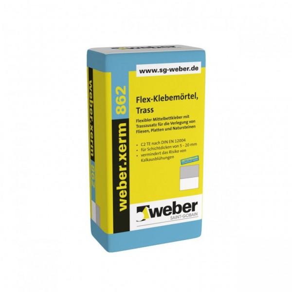 weber.xerm 862 Flexibler Mittelbettkleber mit Trasszusatz für die Verlegung von Fliesen, Platten und