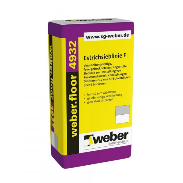 weber.floor 4932 Estrichsieblinie F Verarbeitungsfertige, feuergetrocknete und abgestufte Sieblinie