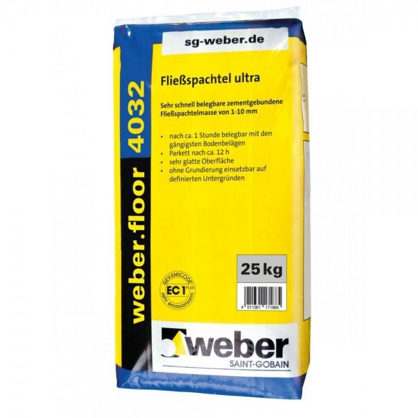 weber.floor 4032 Fließspachtel ultra Sehr schnell belegbare zementgebundene Fließspachtelmasse von 1