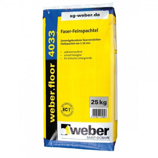weber.floor 4033 Feinspachtel Zementgebundener faserverstärkter Fließspachtel von 1-10 mm Foliensack