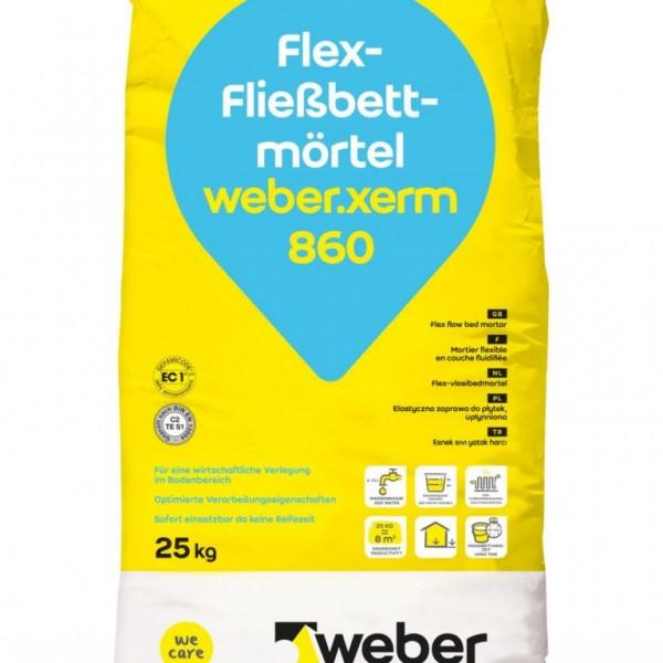 weber.xerm 860 Variabel einstellbarer Fließbettmörtel für die hohlraumarme Bettung von Fliesen und N